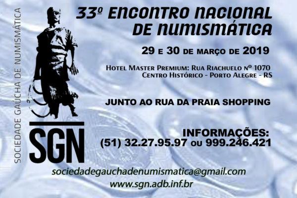 Mesas disponíveis para o 33º Encontro Nacional de Numismática da SGN – 2019